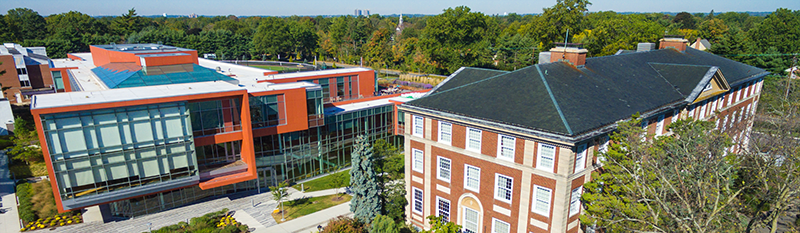 Aerial View - Levermore hall and Nexus buildings at Adelphi University